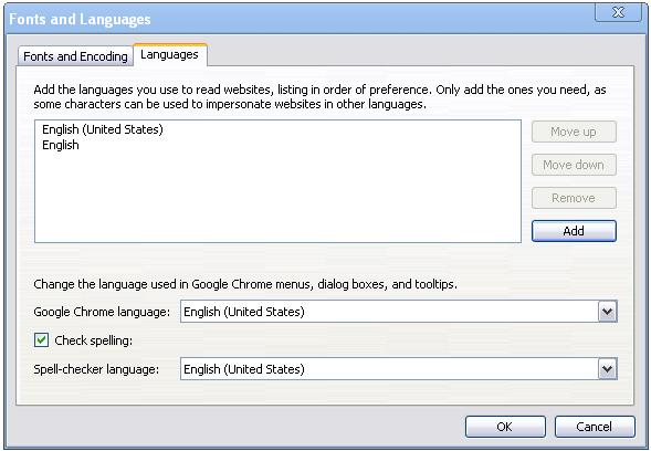 google chrome english